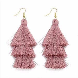 💗Dark Pink Three Layered Fringe Tassel Earrings💗